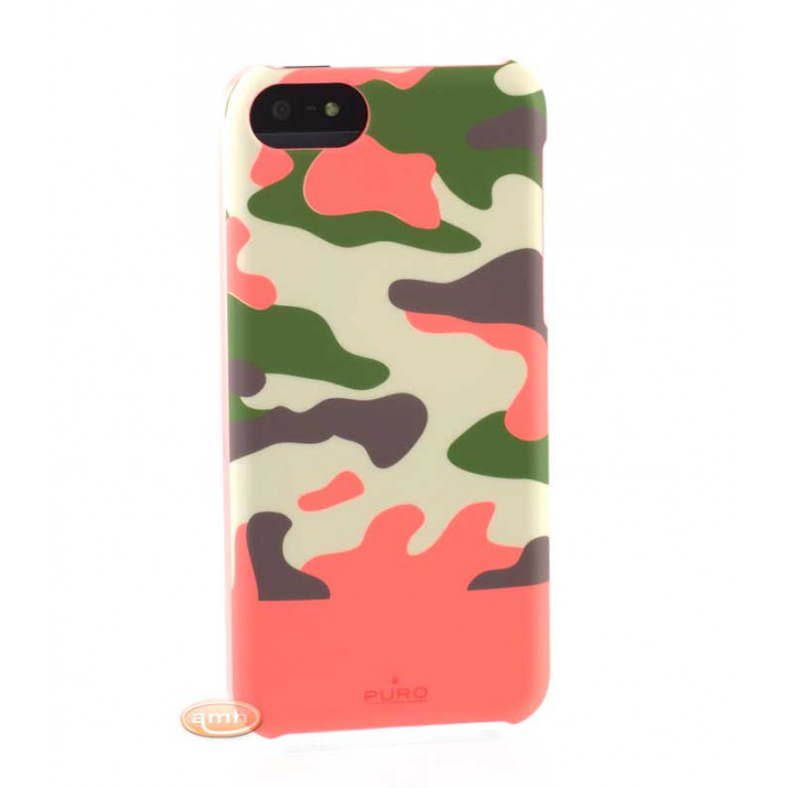 PURO Coque Camouflage Rose corail pour iPhone 5C Soft