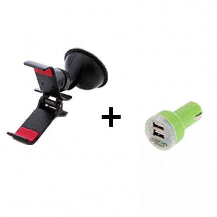 Pack Support Universel voiture Smartphone Pince + Adaptateur chargeur voiture 2A Vert