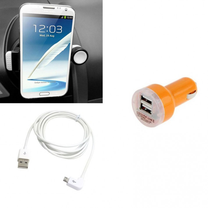 Pack Support Universel Ventilation Etirable + Adaptateur DUO 2A Orange + Cable Blanc 1m