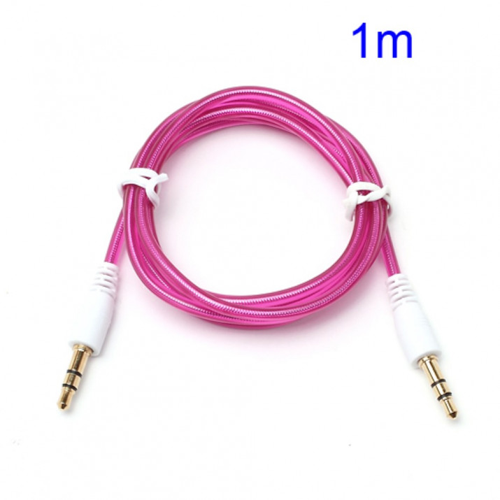 Cable Double Jack 3.5 mm Longueur 1m ROSE Male/Male Connecteur Audio