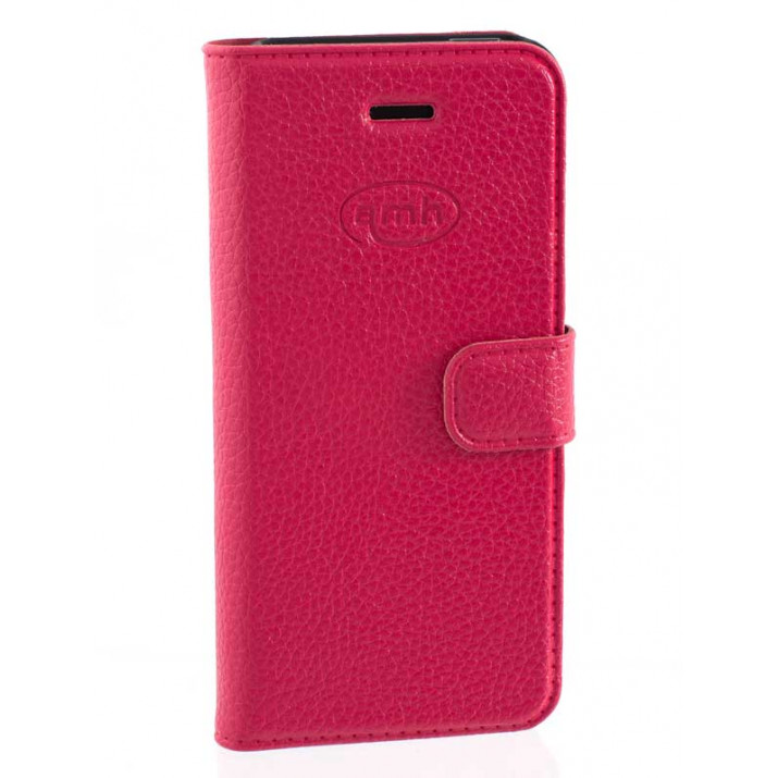 Etui poue iPhone SE portefeuille ROSE Cuir Grainé porte-carte