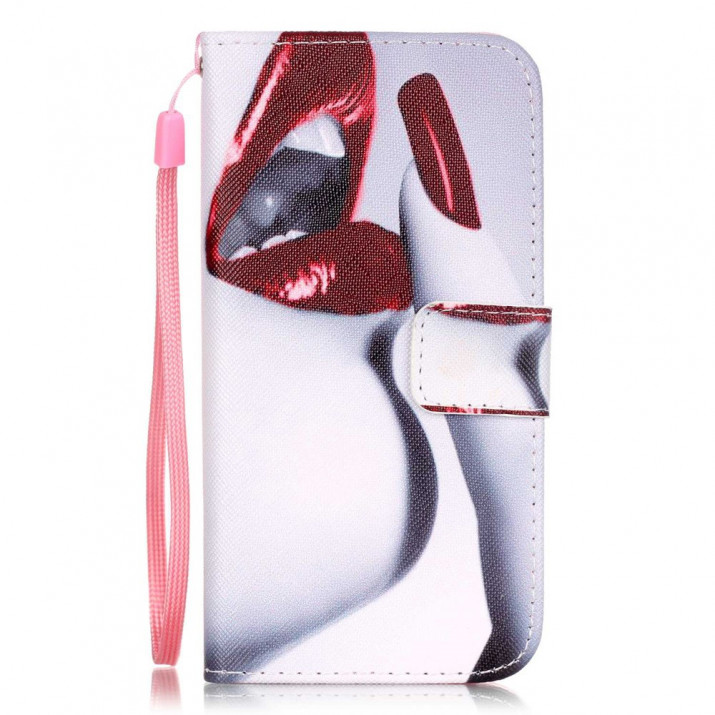 Housse pour iPhone 7 portefeuille Bouche Rouge sexy